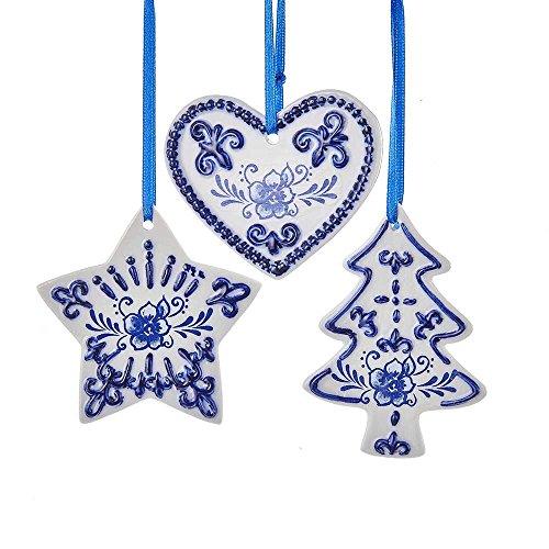 Kurt Adler Set of 3 Delft Blue Ornament Set, 3 Piece