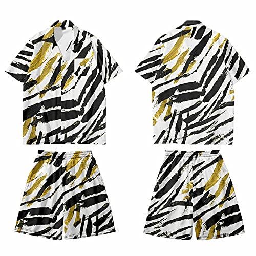 CHUIKUAJ Cárdigan Kimono de Talla Grande para Hombre Conjunto de Pantalones de Playa de Camisa de Manga Corta Informal con Estampado de Rayas Chaqueta de Camisetas Sueltas,B-Xxlarge