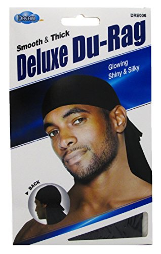 Dream Du-Rag Deluxe (12 Pieces) Smooth & Thick Black Glowing by Dream