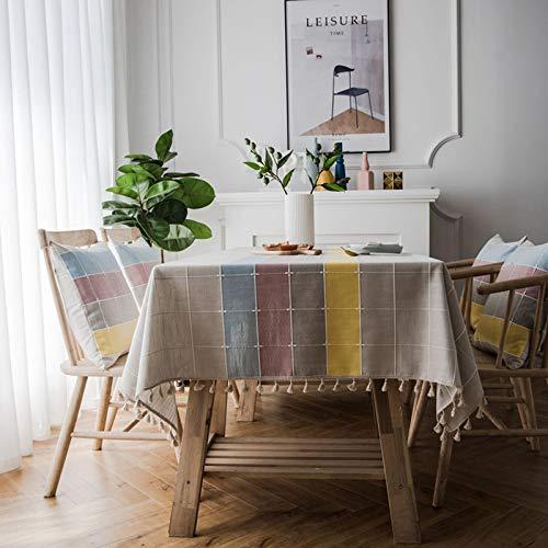 LIUJIU Mediterraner Stil Streifen wasserdichte Tischdecke Baumwoll- und Leinenoptik Rechteckige Tischdecke,140x300cm