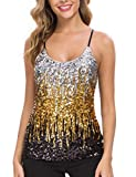 MANER Women's Sequin Tops Glitter Party Strappy Tank Top Sparkle Cami (S/US 4-6, Silver/Gold/Black)