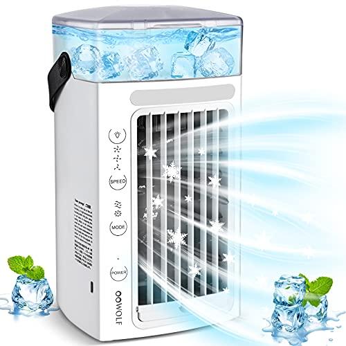OOWOLF Mini Raffreddatore D aria Portatile, Mini Ventilatore 3 in 1, 2 Modalità di Vento 3 Livelli di Velocità, Mini Ventilatore Portatile con Luce Nottura Calda e RGB per Casa, Ufficio, Viaggi