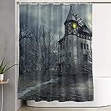 Cortina de Ducha, Shutterstock_ Diseño de Halloween con casa embrujada, Cortina de baño Cortina de baño Lavable Tela de poliéster con 12 Ganchos de plástico 180x210cm