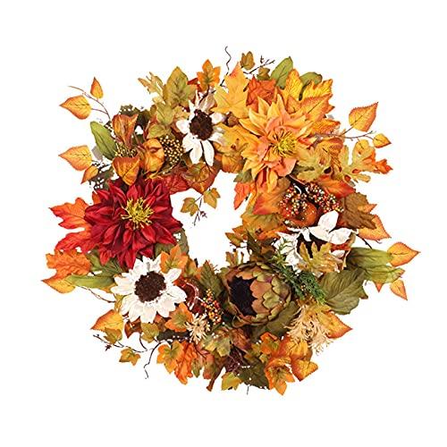 Fngedex - Ghirlanda natalizia con foglie di acero di zucca e crisantemo, ideale per Halloween, giorno del Ringraziamento