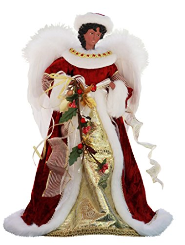 14' Inch Standing Red Floral African American Black Angel Christmas Tree Topper or Table Top 41457A