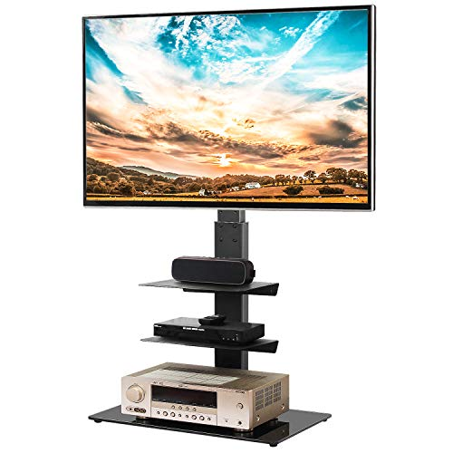 5Rcom Swivel Floor TV Stand with 3 Shelves TV Stand Mount for Most 32 37 42 47 50 55 60 65 inches Plasma LCD LED OLED Flat Screen or Curved TVs,Cable Management and Height Adjustable, Black