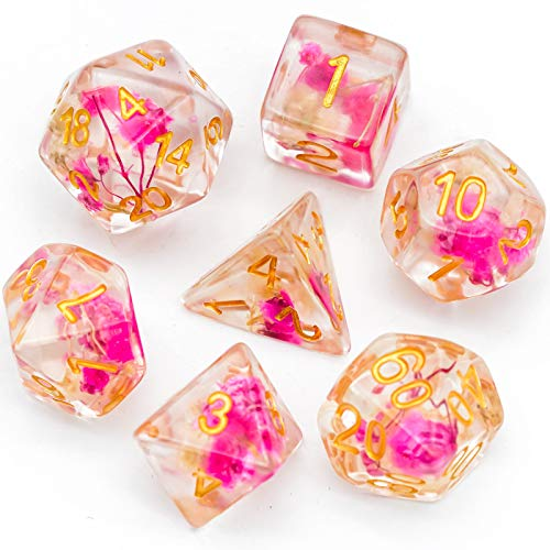 Cusdie 7-Die DND Dice, Polyhedral Dice Set Filled with Flowers, for Role Playing Game Dungeons and Dragons D&D Dice MTG Pathfinder (Rose White w Golden Numbers)