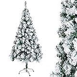 OZAVO Sapin Noël Arbre Artificiel Avec Neige Blanche épaisse Exterieur Sapins Naturel Vert Matière PVC 180cm Support en Métal pour Décor de Jardin Maison