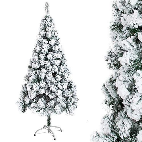 OZAVO Árbol de Navidad Blanco Artificial Nevado de Picea(Blanco,180 cm 450 Ramas),Decoración Navideña,Flocado con Copos de Nieve,Maxi-Relleno PVC Abeto,Soporte Metálico