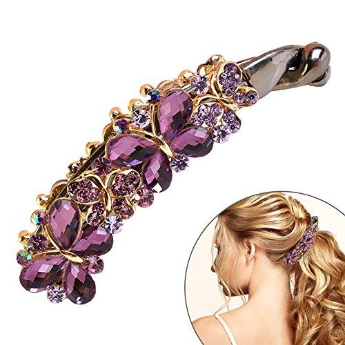 EQLEF® 1 Stück Elegante purpurrote künstliche Kristallrhinestones-Schmetterlings-Bananen-Klammer-Haar-Kämme