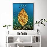 Hoja dorada Planta Lienzo Pintura Arte Abstracto Arte de la pared Imagen Decoración para el hogar Sala de estar Arte decorativo de lujo Mural 60x80cm (23.6x31.5in) Sin marco