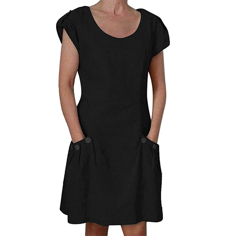 Sunhusing Women's Casual Solid Color Round Neck Button-Down Ruffled Pocket Short Sleeve Summer Dress