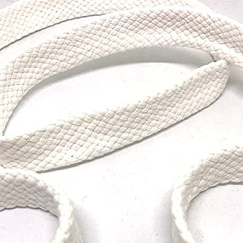 Anrox Supply Co 3/4  White Braided Cotton Flat Cord Drawstring Drawcord Handles Lace Trim Thick Heavy Duty 3YDS