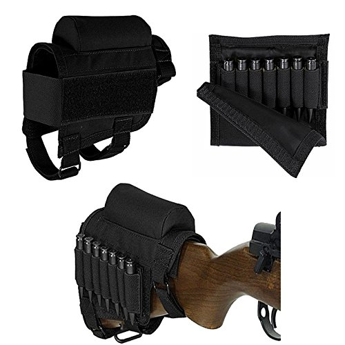 FIRECLUB Tactical Buttstock Shell Holder Cheek Rest Pouch Holder Pack with Ammo Carrier Case