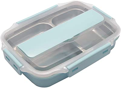 AINAAN Stainless Steel Leakproof Lunch Box,Dishwasher Safe, BPA-Free,Equipped with Cutlery and Suitable Tote Bag, 2019, Blue