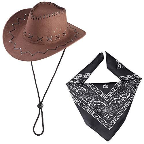 Beefunny Cappello da Cowboy e Set di Accessori Costume in Costume Western Wild Bandana di Paisley (Nero)