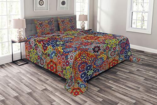 ABAKUHAUS Batik Tagesdecke Set, Combined Nested Paisley, Set mit Kissenbezügen Moderne Designs, für Doppelbetten 264 x 220 cm, Multicolor