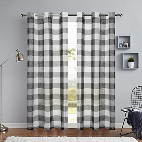 "Black and White Buffalo Plaid Checkered Semi Sheer 63 Inch Long Window Curtain Drape Panels, Grommet Top Treatment for Bedroom & Living Room(2 Panels, 40""x63"", Black)"