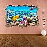 Pegatinas de pared Acuario submarino Coral Fish 3D Etiqueta de la pared Mural Decal Kids Room Decor CT15 mural - 50×70cm