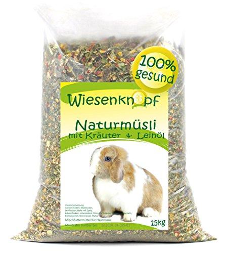 Wiesenknopf Naturmüsli | Voor dwergkonijnen | Met granen, groente, paardebloemen, kruiden in vlokken | Inhoud: 15 kg
