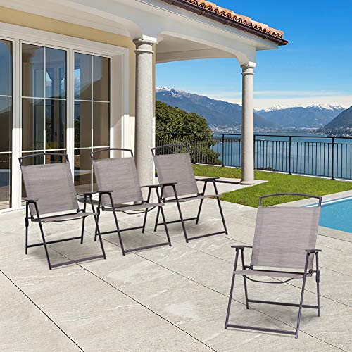 Crestlive Products Set of 4 Patio Folding Chairs 4-Pack Dining Chairs Outdoor Portable Sling with Armrest for Camping, Beach, Garden, Pool, Backyard, Deck (Beige)