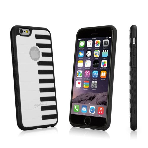 BoxWave Sonata Apple iPhone 6 Case Zwart hybride TPU/Hard Shell Case met Verhoogd Piano Keyboard Design, Perfect gegoten voor uw Apple iPhone 6 -Apple iPhone 6 hoesjes en hoezen