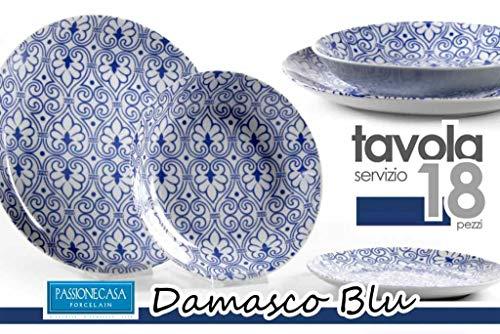 Platos Gic 18 piezas damasco azul 714740