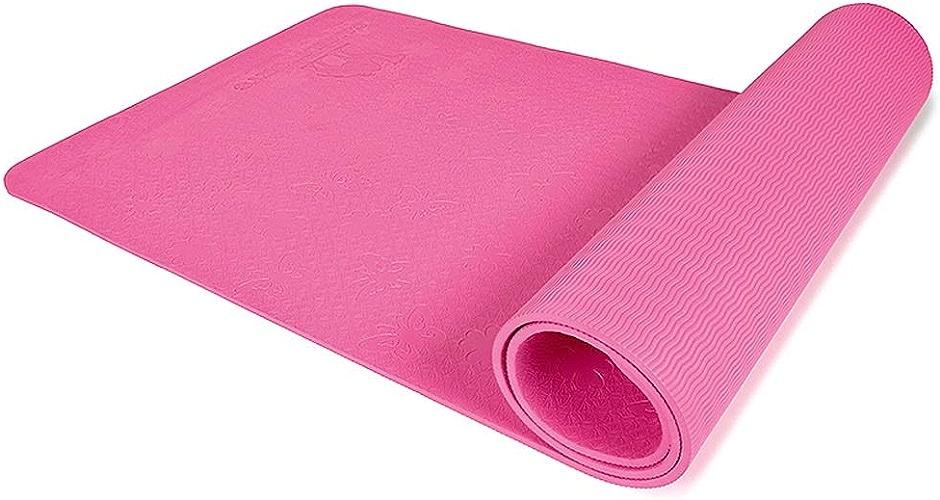 Tapis de Yoga débutant male et Femelle TPE Double Face élargi Long Tapis antidérapant de Yoga Tapis de Fitness JSSFQK (Couleur   Rose)