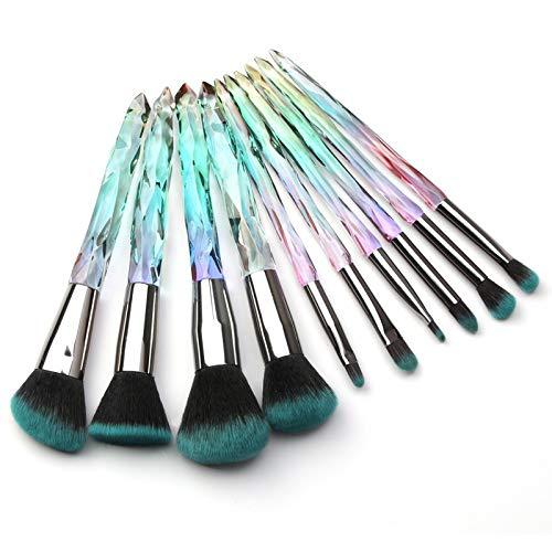 Kingtree Makeup Brush Set 10 PCS Crystal Makeup Brushes, Premium Synthetic Bristles Powder Foundation Blush Concealer Eye Shadow Eyeliner Eyebrow Brushes for Girls Ideal Beauty Tool for Women