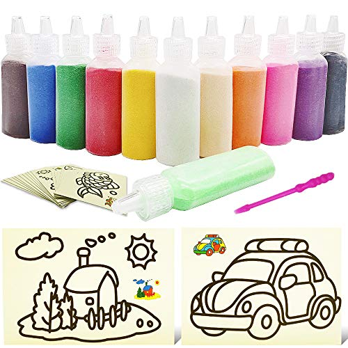 Zddaoole Kids' Sand Kit Craft Sand Art Kit,Colored Sand for Children Crafts,with 20 Sheets Sand Art Painting Cards for Decorative Wedding and Crafty Collection Sand Bottles