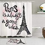 KISSENSU Cortinas con Ganchos,Letras de la Torre Eiffel en el corazón Europa Moderna Dream Tour Sketch Ilustración,Cortina de Ducha Alfombra de baño Bañera Accesorios Baño Moderno