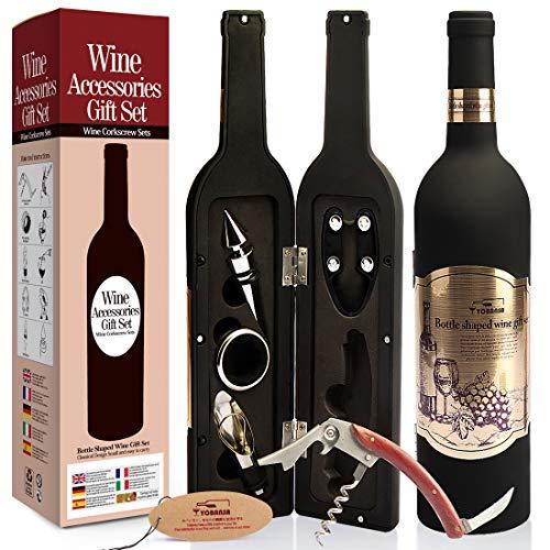 Yobansa Set di Accessori da Vino a Forma di Bottiglia di Vino,Accessori per Il Vino Include cavatappi,Tappo per Vino,versatore per Vino (Bottle 01)