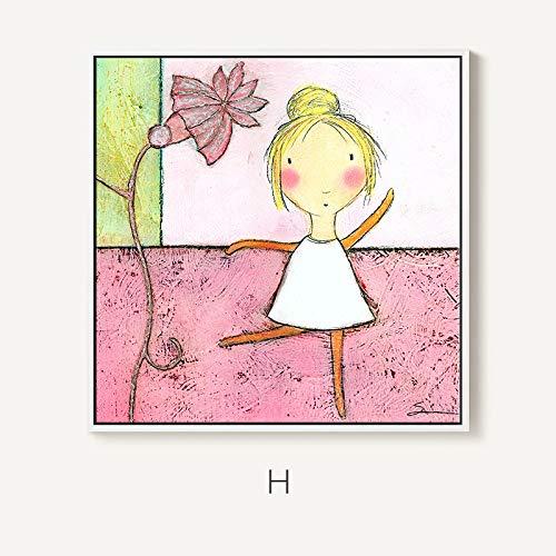 Decoración Moderna de la habitación de los niños Pintura niña Dormitorio mesita de Noche Pintura niño patrón de Dibujos Animados Restaurante Mural Pintura sin Marco 70x70cm