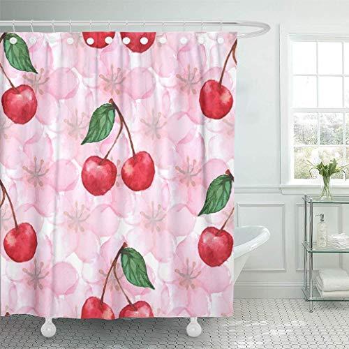 QYGA-3BU Duschvorhang Apricot Green Abstract Aquarell Cherry Berry Sakura Pink Apple Duschvorhänge Sets mit 12 Haken 60 x 72 Zoll