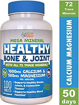 Calcium Magnesium with Vitamin D3 Mega Minerals by Feel Great 365 | 72 Trace Minerals| Supports Back Pain*, Promotes Bone and Joint Health and a Good Night Sleep* |Gluten Free, and Iron Free