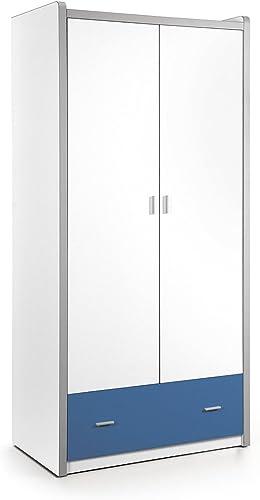 Kleiderschrank Valerie Weißblau B 97 cm H 202 cm Jugendzimmer Kinderzimmer Schlafzimmer Drehtürenschrank W heschrank Schrank