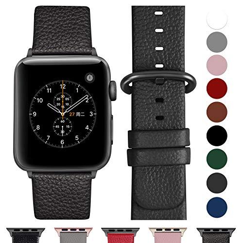 Fullmosa kompatibel Apple Watch Armband 40mm und 38mm,Leder Uhrenarmband Ersatzband für Apple Watch Series 5,4,3,2,1,Space grau+Spacegrauschnalle 38mm/40mm