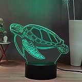 Lamchim Veilleuse LED 3D animale, lampe de bureau décor de dessin animé de tortue, lampe de nuit à télécommande intelligente, meilleurs jouets de vacances d'anniversaire (Turtle)