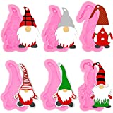 6 Pieces Gnome Shape Silicone Mold Santa Silicone Mould Keychain Silicone Mold with Hole for DIY Keychain Luggage Tag Pendant Earrings Cake Decoration Desserts Jewelry Making