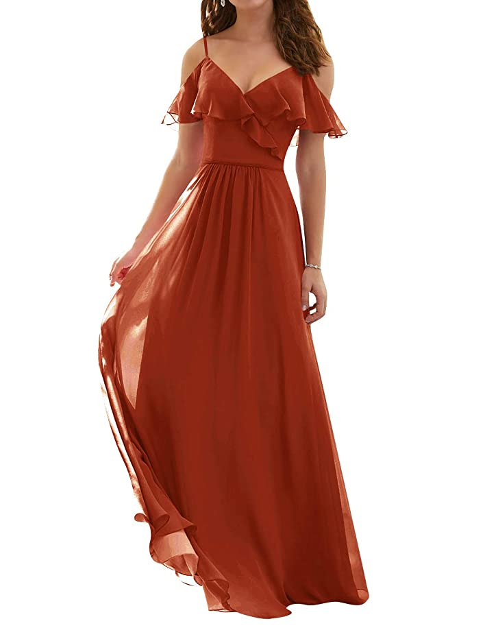 Bridesmaid Dresses Chiffon Party Prom Gowns Long with Shoulder Ruffles V Neck