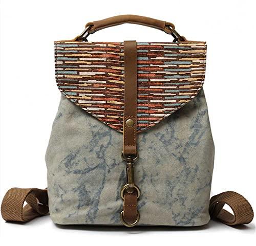 AERJMA Bolso de mensajero de estilo étnico, mochila de lona para mujer, bolso de hombro vintage con asa superior para trabajo, escuela, viajes, azul cielo