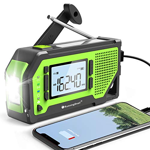 【2020 Newest Version】 RunningSnail Emergency Weather Alert Radio, AM/FM/NOAA Weather Solar Hand Crank Radio with 2000 mAh Battery,LCD Display,Earphone Jack,Bottle Opener,Phone Charger for Emergency