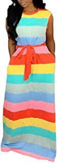 Mogogo Womens Loose Striped Sexy Lounge Girdle Sleeveless Maxi Dress