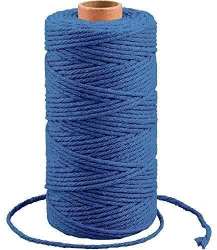 100M Cuerda de Algodón,3MM Macrame Cuerda,Natural Trenzado Algodón,Pared Colgador de Planta Tejido Cordón Tejer Decoración Hornear, Manualidades(azul oscuro)