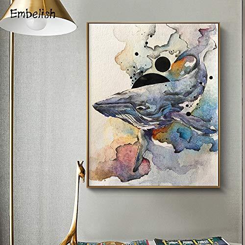 KWzEQ Leinwanddrucke Aquarellwal Wandplakate und Hausdekoration für Wohnzimmer60x80cmRahmenlose Malerei