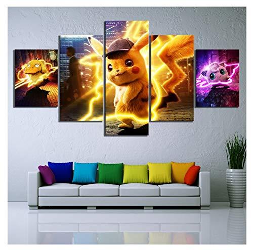 unknow LIAOGE HD Print Bild Poster 5 STK, Pokemon Detektiv Pikachu Film, Leinwand Malerei WandKunst Home Decor für Schlafzimmer, kein Rahmen, 30x40-30x60cm - 30x80cm