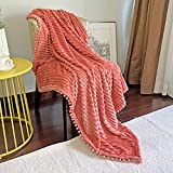 DISSA Flannel Blanket with Pompom Fringe, Lightweight Plush Fleece Blanket with Strip, Cozy Throw Blanket, Soft Fluffy Couch Blanket Fit Sofa Bed, Warm Blanket for All Season (Coral, 51'x63')