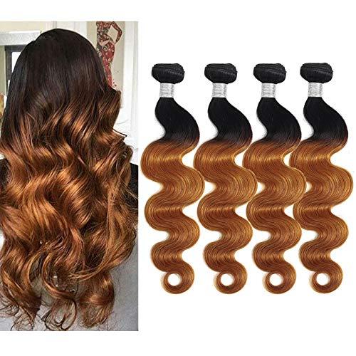 Human Hair Body Wave Bundles Hair Extensions Brazilian Human Virgin Hair 4 Bundles(18 18 18 18 )Ombre Body Wave Bundle Weave Hair Human Bundles 10A Wet And Wavy Bundles 2 Tone T1B/30