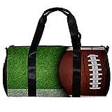 Sac de sport rond avec bandoulière amovible - Ballon de football américain sur gazon vert - Sac de nuit pour homme et femme