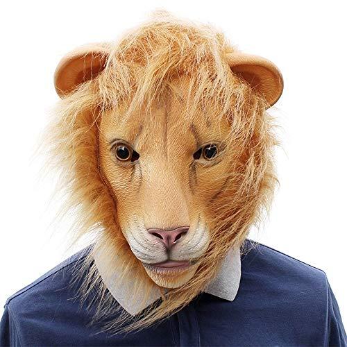 JIEIIFAFH Maschera a Forma di Testa di Leone in Lattice Peloso Divertente Halloween Cosplay Party Animal Dress Up Maschere Puntelli (Color : Lion, Size : One Size)